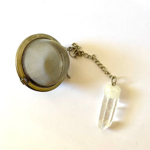 stainless steel tea ball with clear quartz