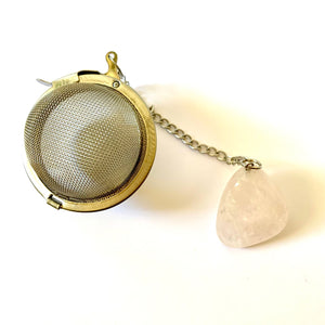 stainless steel tea ball with rose quartz