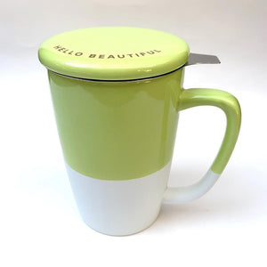 green ceramic infuser tea mug