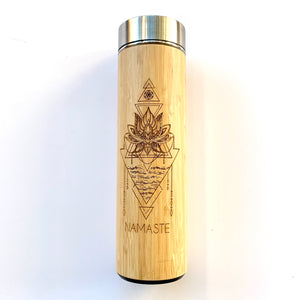 stainless steel and bamboo tea travel tea tumbler