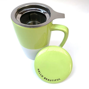ceramic infuser tea mug, green