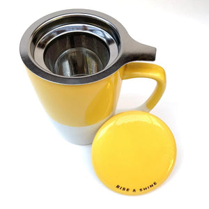 Ceramic Infuser mug, yellow