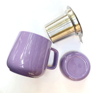 purple ceramic tea mug