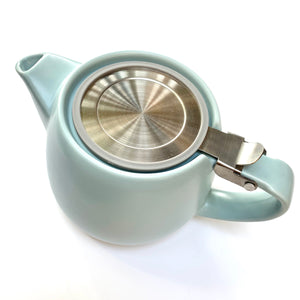 ceramic teapot with infuser pastel blue