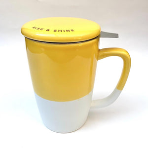 Yellow ceramic tea mug
