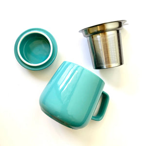 ceramic tea mug with infuser, turquoise