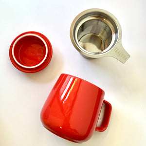 ceramic tea mug with infuser, red