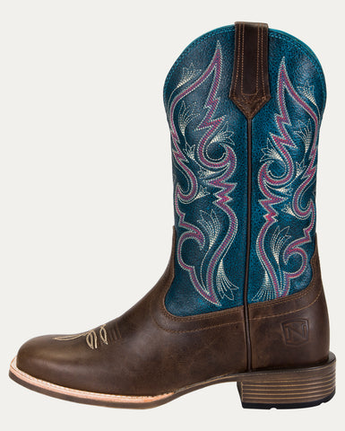Women's All Around Boots Square Toe Antique Oak Hawaiian Blue