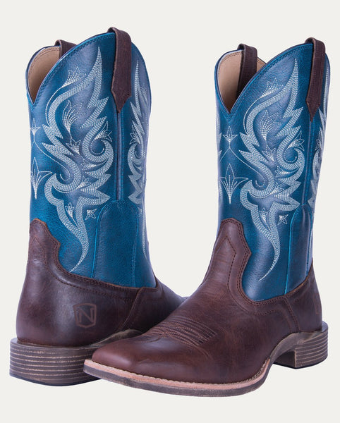 Women's All Around Boots Square Toe Autumn Dark Brown Teal