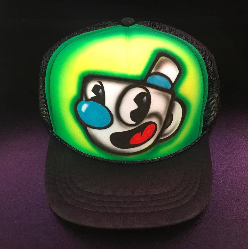 Airbrushed Hat MH1 (Brick, Custom, Gift, Gamer, Spray painted, Cap,  Special, Hand Made, Hand Painted, Flat Bill trucker cap)