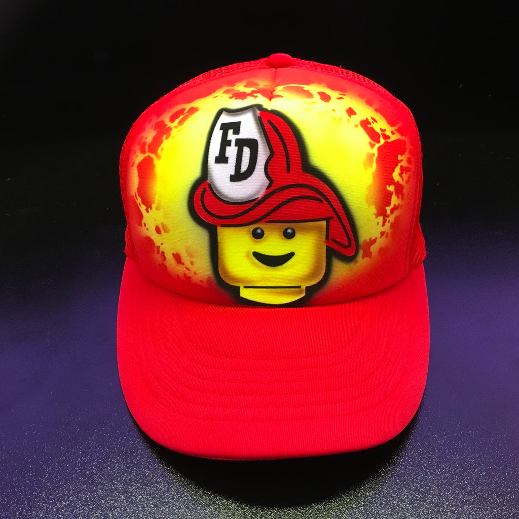 Ff01 Airbrushed Hat (Brick, Custom, Gift, Gamer, Spray painted, Cap,  Special, Hand Made, Hand Painted, Flat Bill trucker cap)