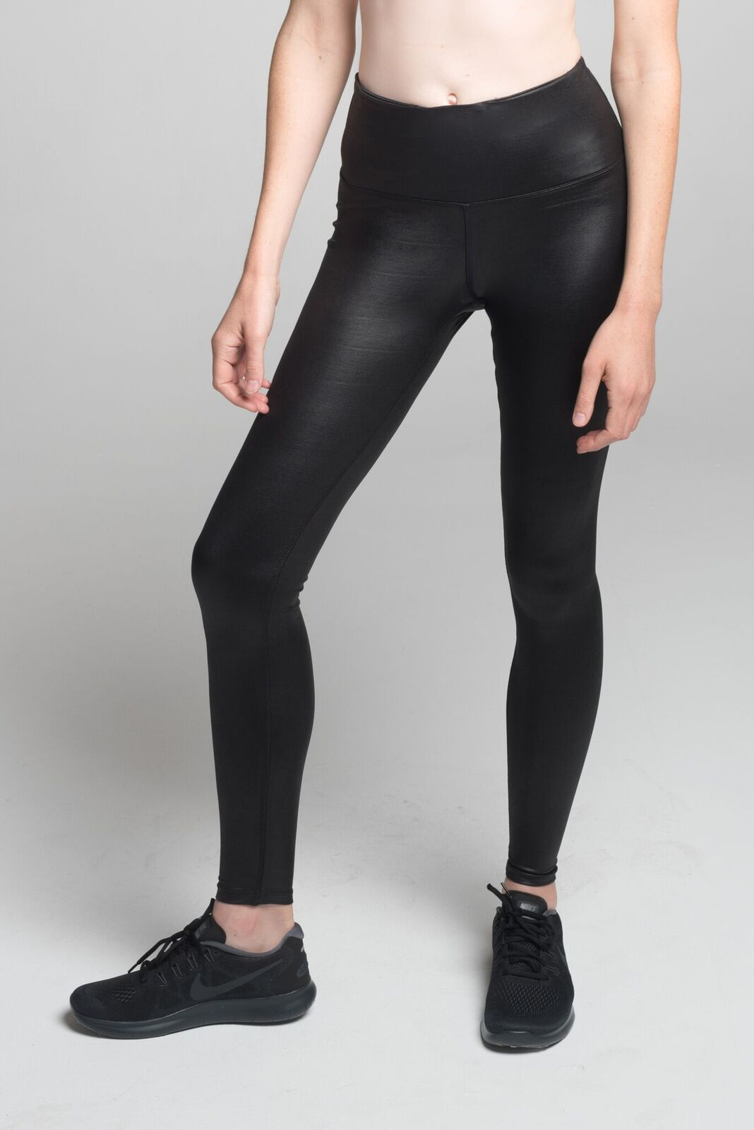 25cfd11a48b23 High Rise Fearless Legging (Black Shine) | Shiny Black Leggings - VISAKAI