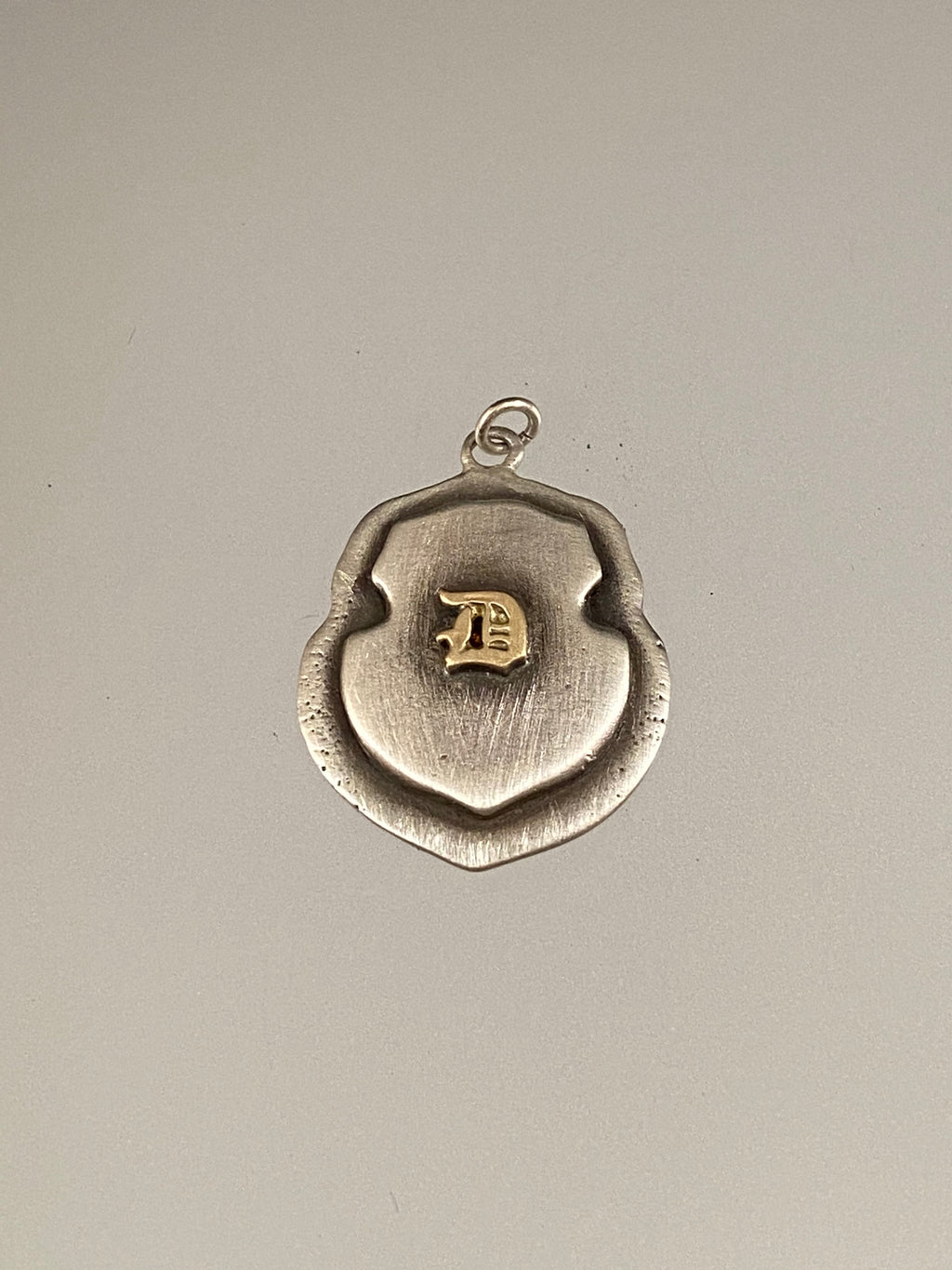 Engraved Large Saddle Shield 14K 'D' Initial