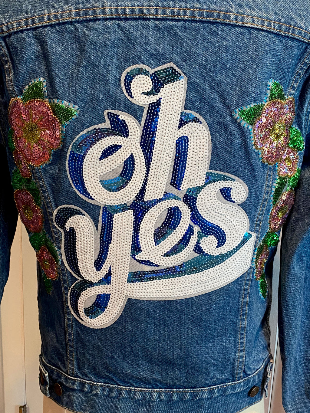 'Oh Yes' Floral Sequin Jean Jacket. Size L