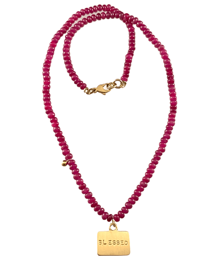 "16"" Ruby Beads with 14k Gold 'I Am Blessed' Tag Charm Necklace"