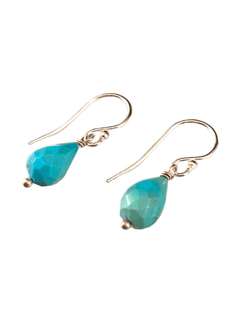 Sterling & Turquoise Faceted Teardrop Earrings