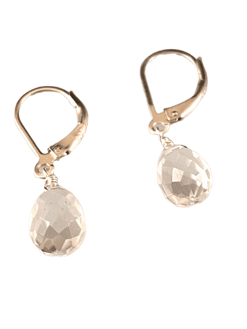 Sterling & Quartz Crystal Faceted Teardrop Earrings