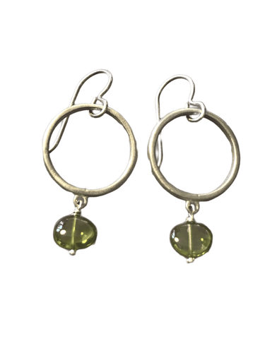 Sterling Circle and Peridot Drop Earrings