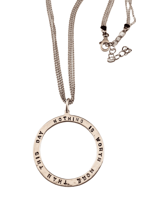 """24"""" Sterling silver 'Nothing is worth more than this day"""" Necklace 1"""