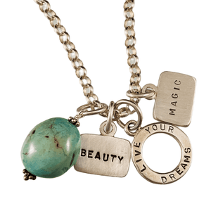 Beauty, Live Your Dreams, Magic Triple Tag Charm Necklace with Turquoise