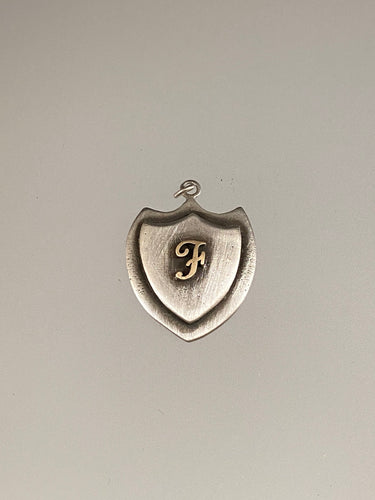 Engraved Large Trident Shield 14K 'F' Initial
