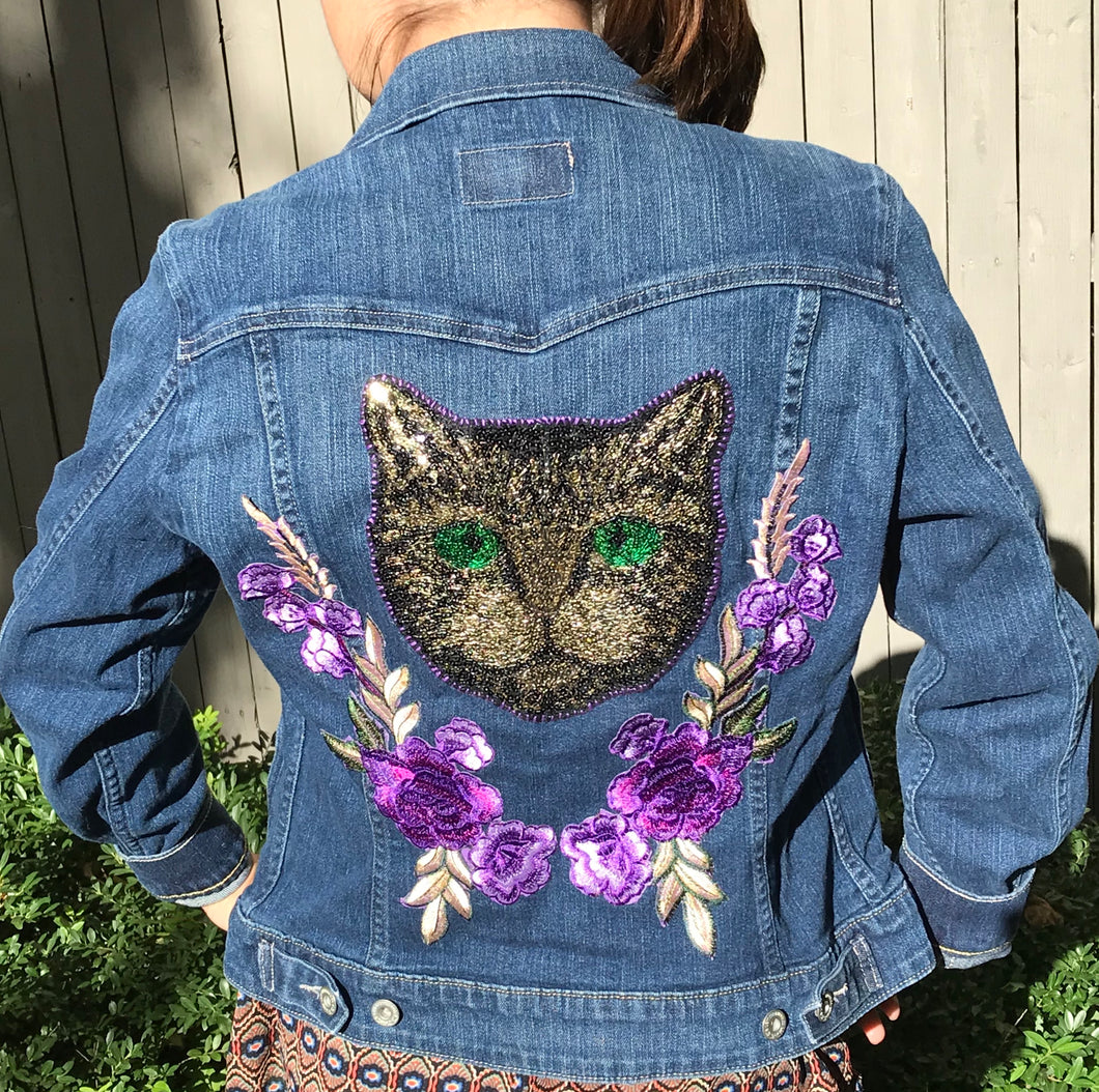 Purple Kitty Jean Jacket
