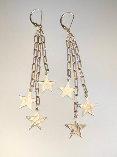 Sterling Hammered Triple Star Chain Earrings