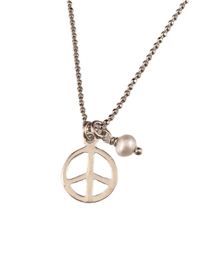 "18"" Tiny Peace Sign & Pearl Charm Necklace"