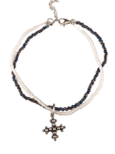 Sterling Cross Charm Double Strand Beaded Anklet White & Iridescent