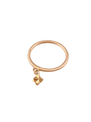 14K Solid Rose & Yellow Gold Tiny Merkabah Charm Ring