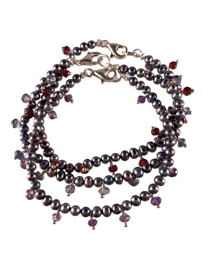 Grey Pearl Fringed Gemstone Bracelet in Assorted Colors