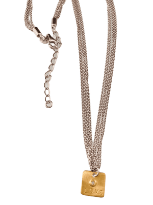 "#221 16""-18"" Multi Strand Chain with 14k Gold Diamond 'Love' Charm Necklace"