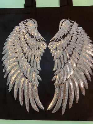 Silver Sequin Angel Wing Bag