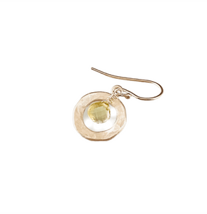 Lemon Quartz & Sterling Silver Circle Earrings