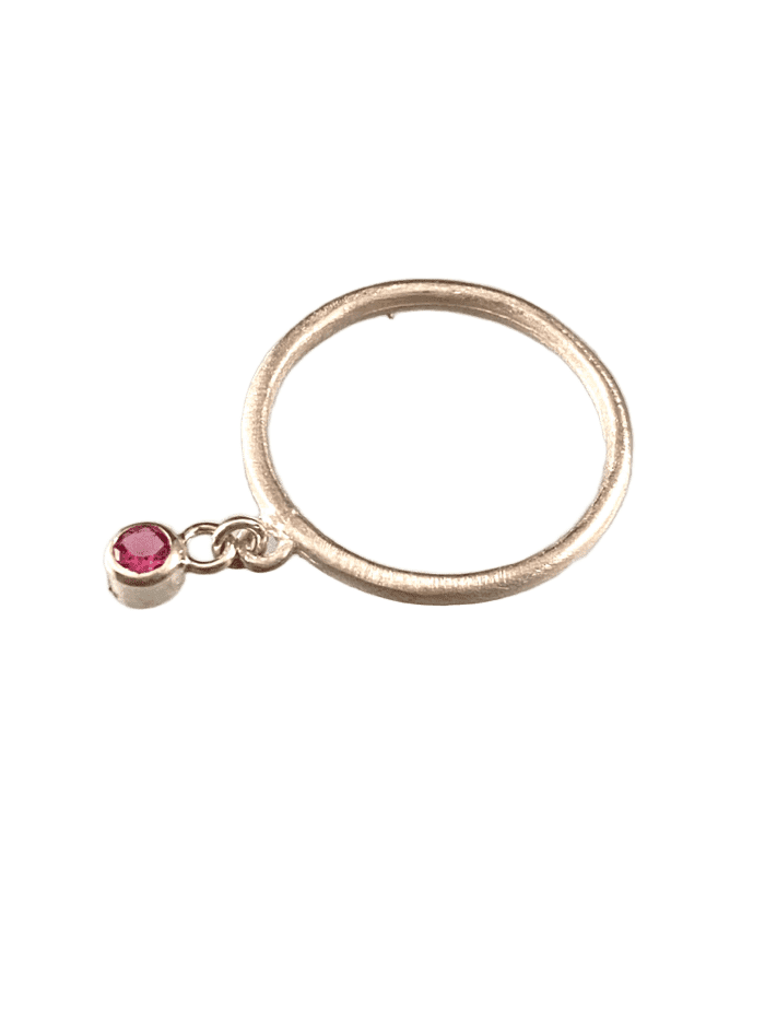 Sterling & Faceted Pink Tourmaline Gemstone Charm Ring