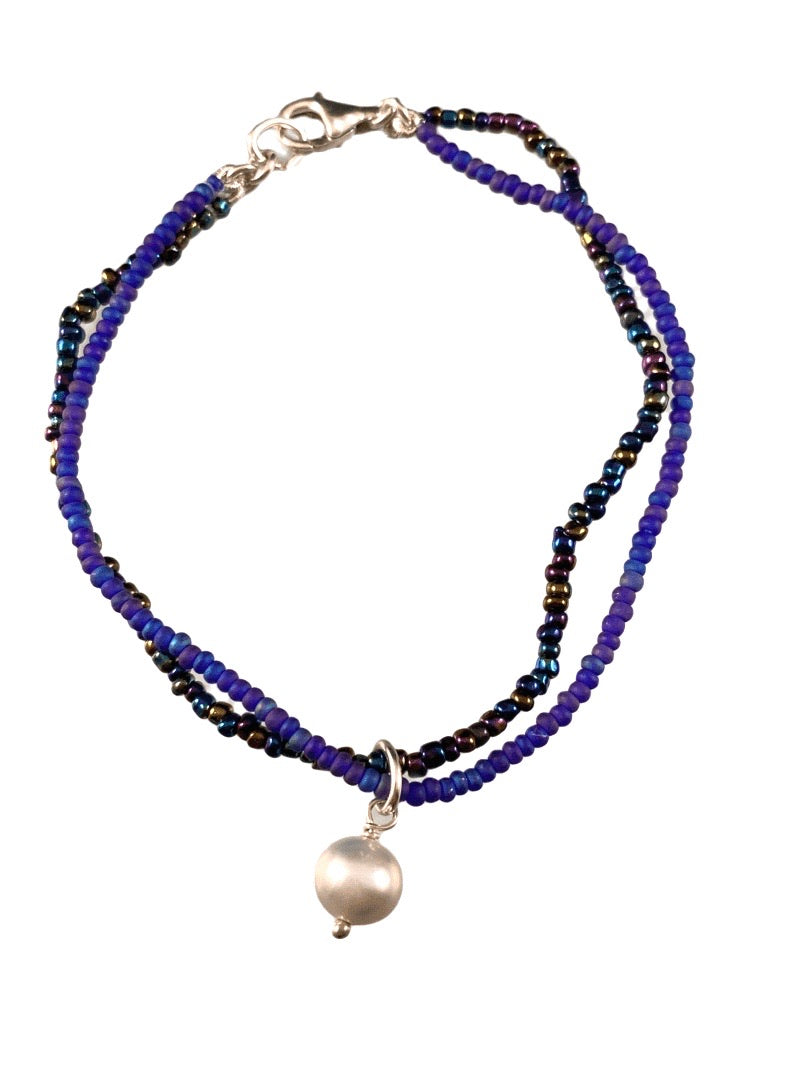 Gray Pearl Charm Cobalt Blue Glass Double Strand Beaded Bracelet