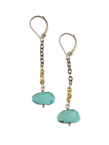 Sterling & Turquoise Chain Drop Earrings