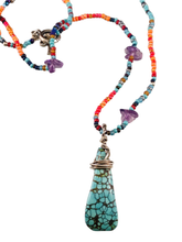 "18"" Mixed Glass Bead & Amethyst Necklace with Turquoise Pendant"