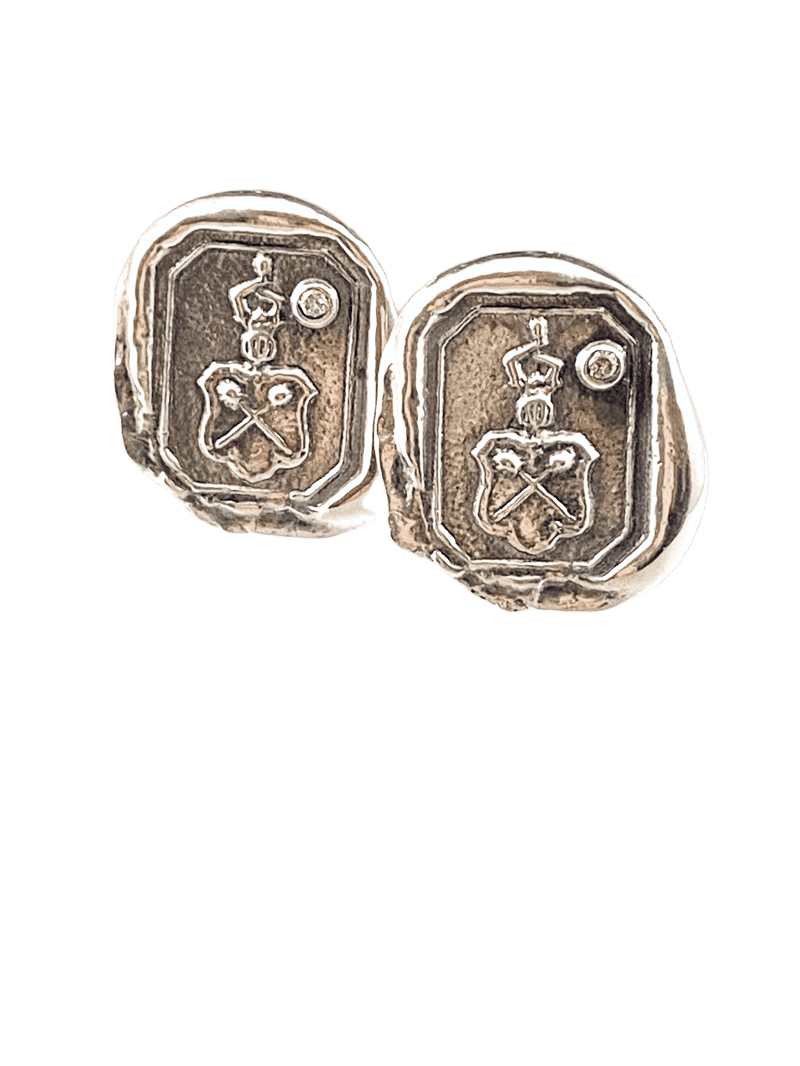 Sterling Silver Crest Diamond Cufflinks