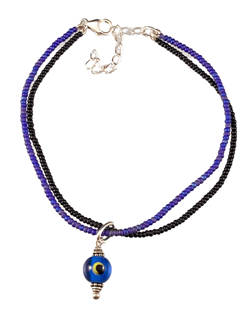 Evil Eye Double Strand Beaded Anklet Cobalt Blue & Black