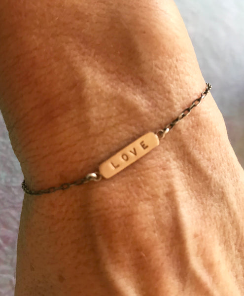 14k Rose Gold Love ID Bracelet on Sterling Chain