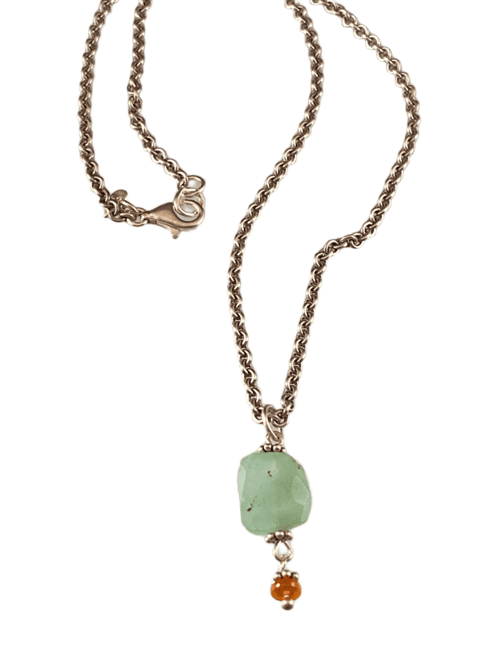 "16"" Faceted Chrysoprase & Mexican Fire Opal Charm Necklace"