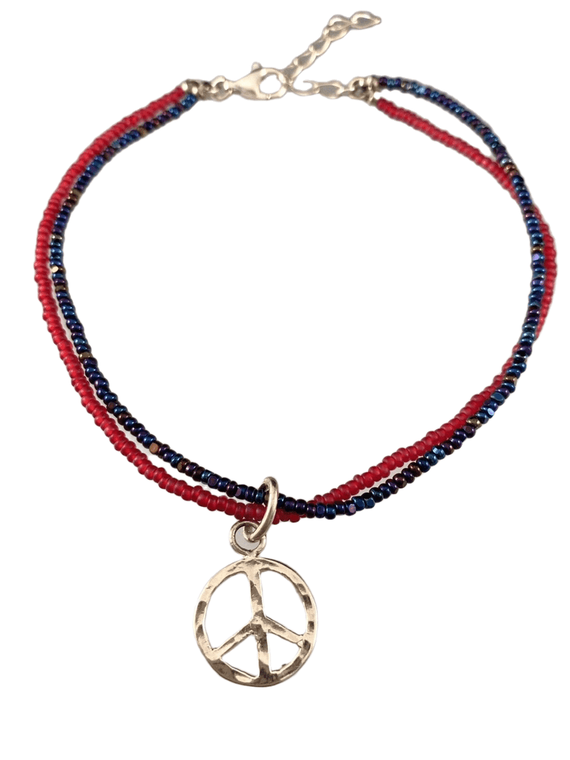 Peace Sign Double Strand Beaded Anklet Red & Iridescent