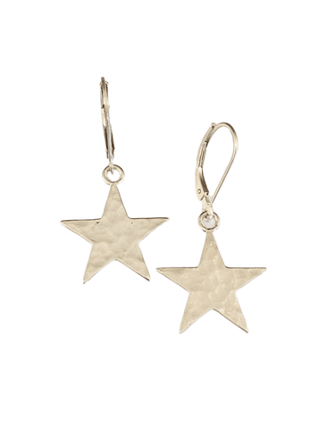 Sterling Hammered Star Earrings