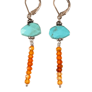 Sterling Silver Turquoise and Faceted Carnelian Earrings