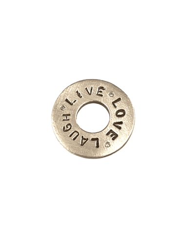 Sterling 'Live Love Laugh' Diamond Washer Charm