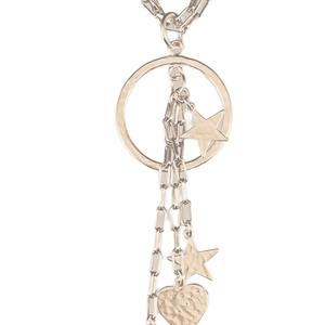 """16"""" Sterling Silver Star and Heart Charm Necklace"""