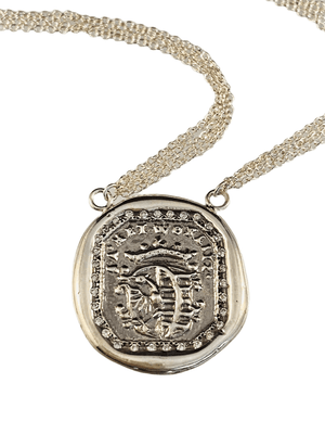 "16"" Sterling Silver Square Crest on Chain with Diamonds"