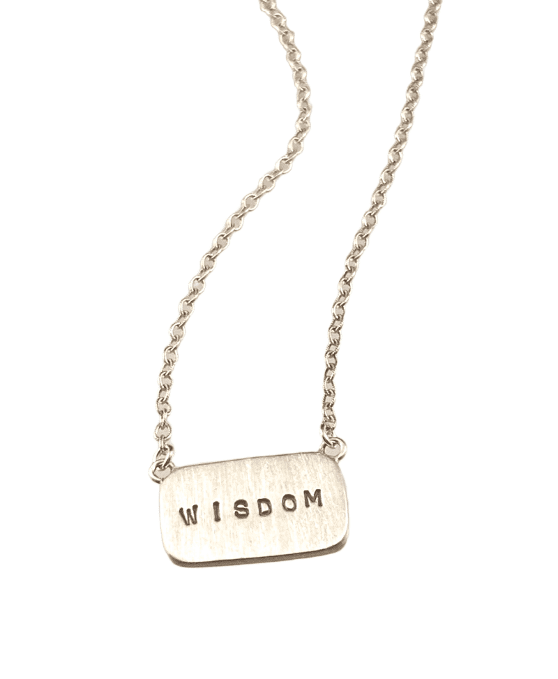 "16"" Sterling Silver 'Wisdom' Tag Necklace"