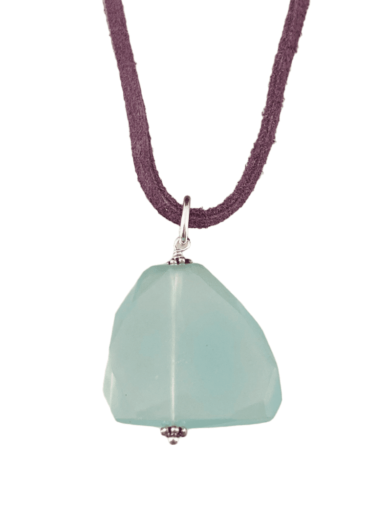 "16"" Light Green Chalcedony Slice on Purple Suede Necklace"